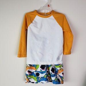 Toddler Boys Rash Guard Shirt Shark Swim Trunks 2T